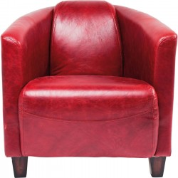 Fauteuil Cigar Lounge cuir rouge Kare Design