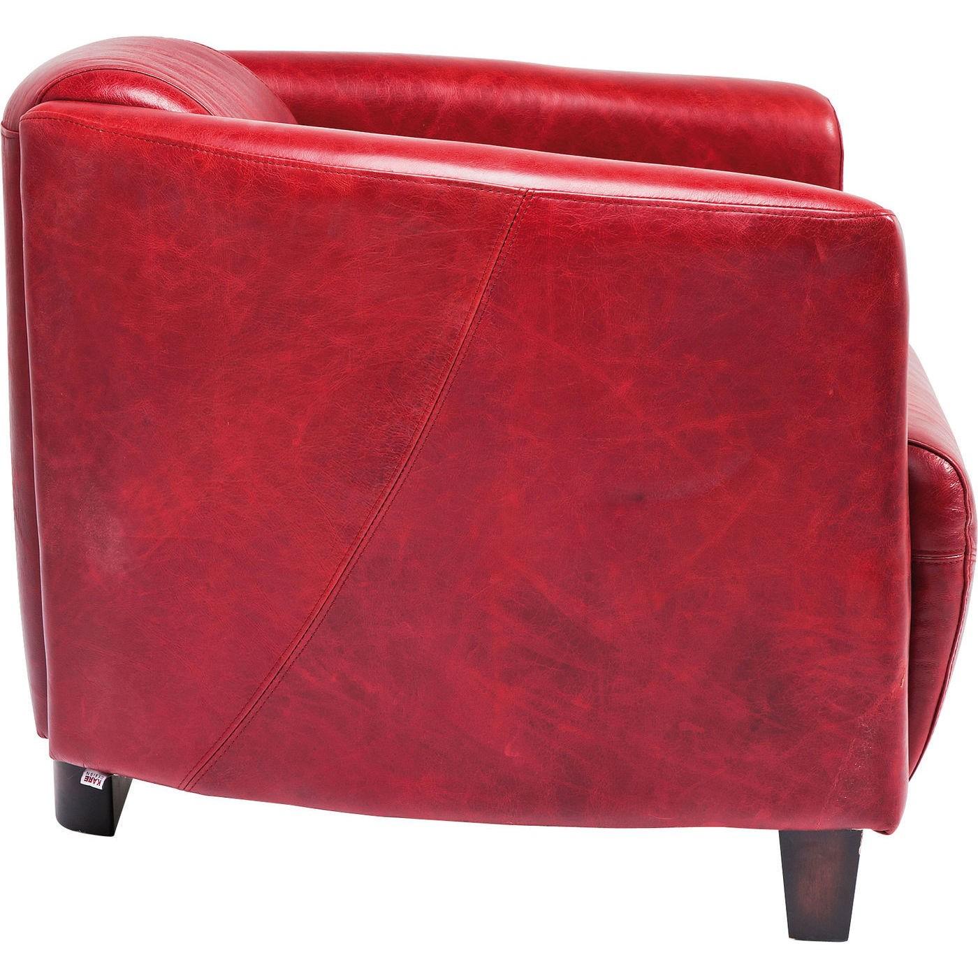 Fauteuil Cigar Lounge cuir rouge Kare Design