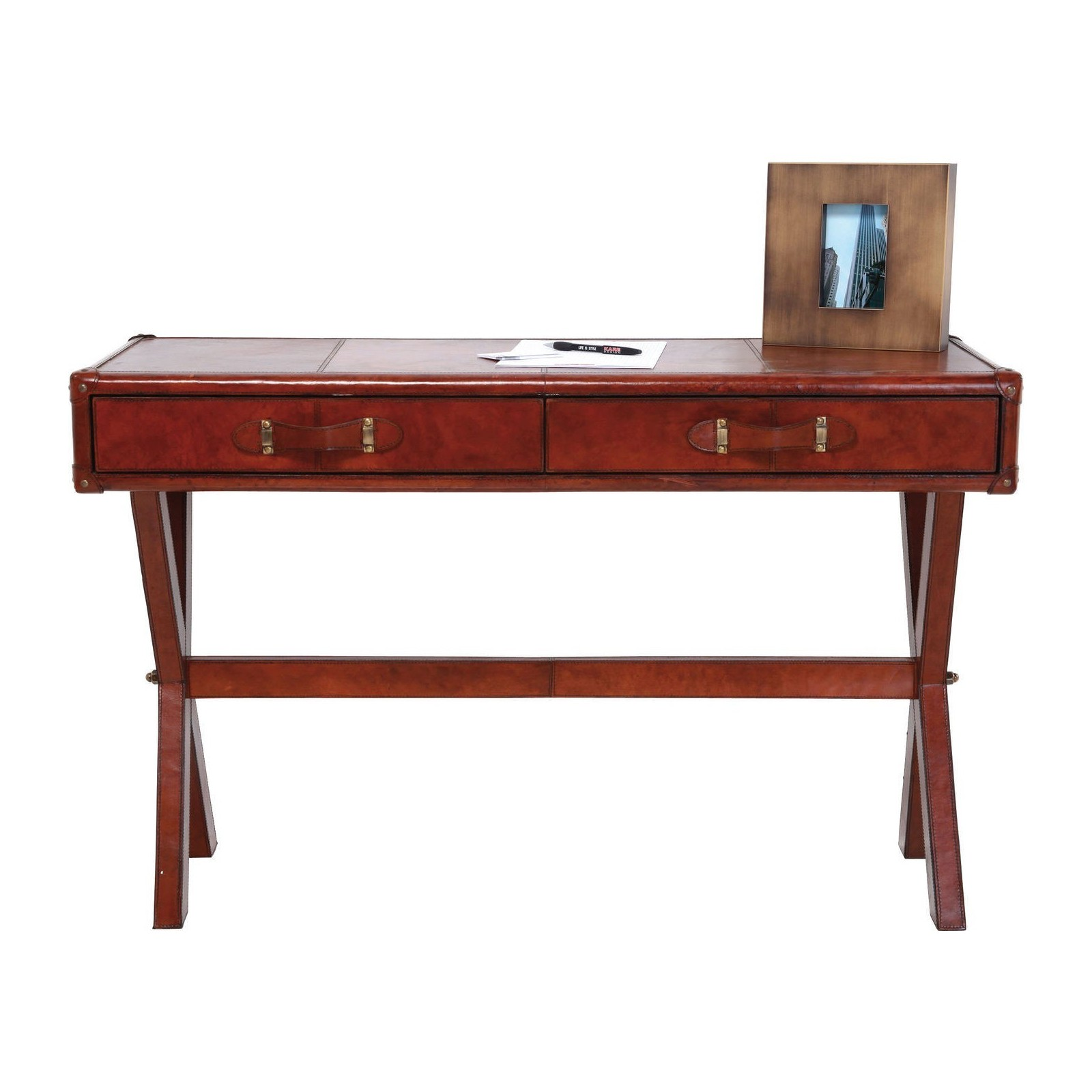 bureau en cuir console lodge 120x46 cm kare design. Black Bedroom Furniture Sets. Home Design Ideas