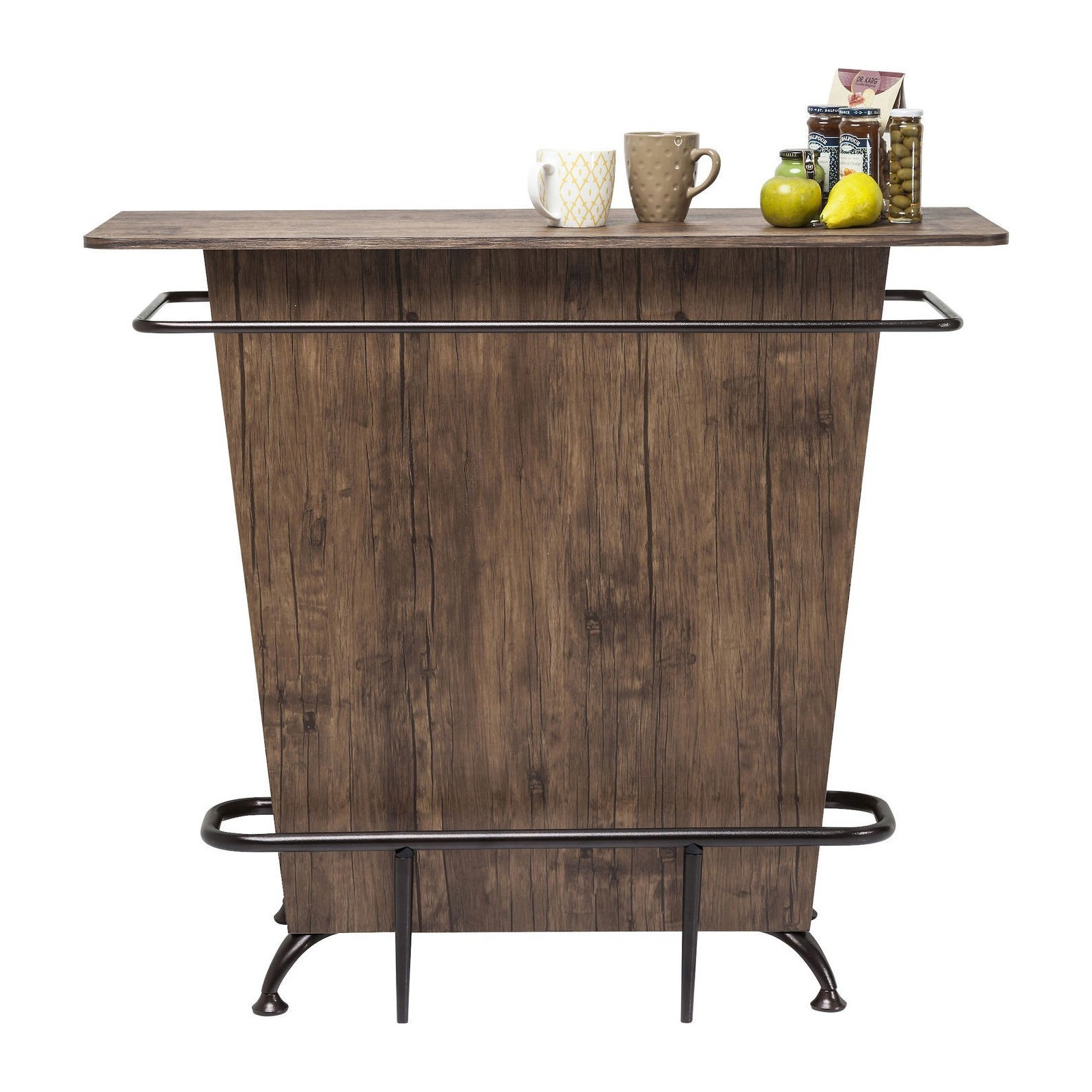 Bar rustique bois lady rock walnut kare design for Meuble sous bar