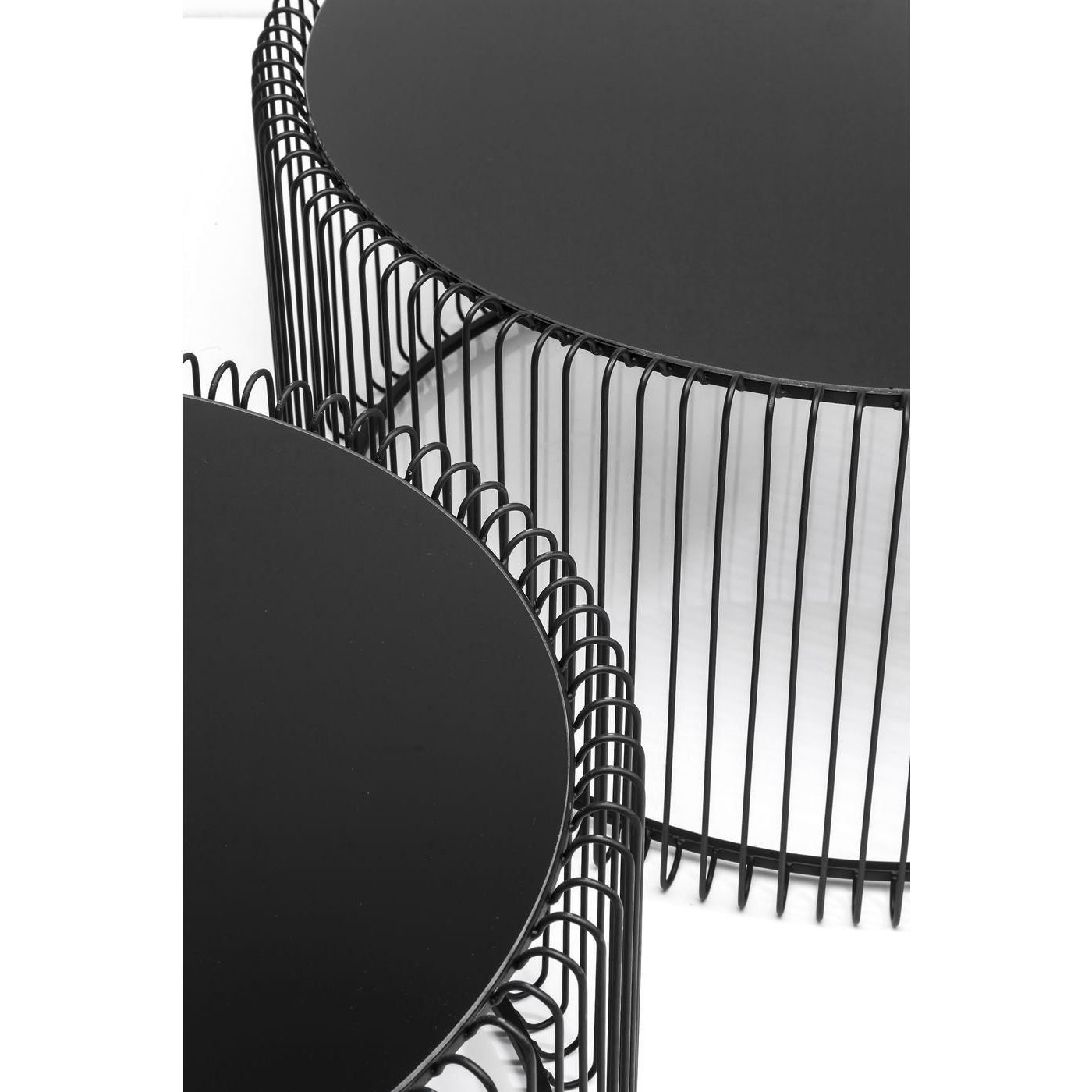 Tables basses rondes Wire set de 2 noires Kare Design
