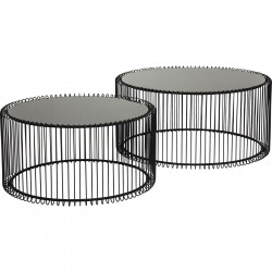 Tables basses rondes Wire set de 2 noires Kare Design