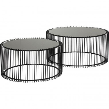 Tables basses rondes Wire noires set de 2 Kare Design