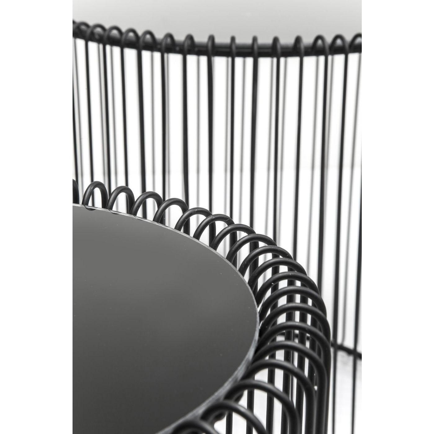Tables d'appoint rondes Wire noires set de 2 Kare Design