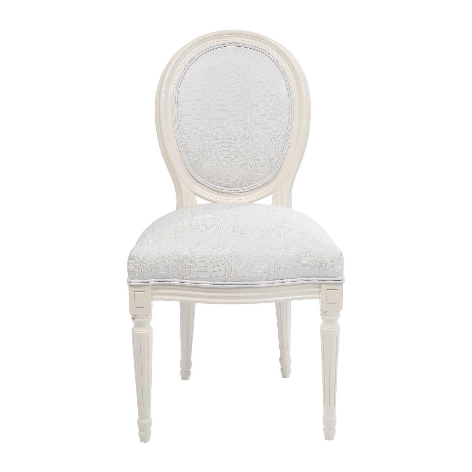 Chaise baroque blanche louis kare design for Chaise simili cuir blanche