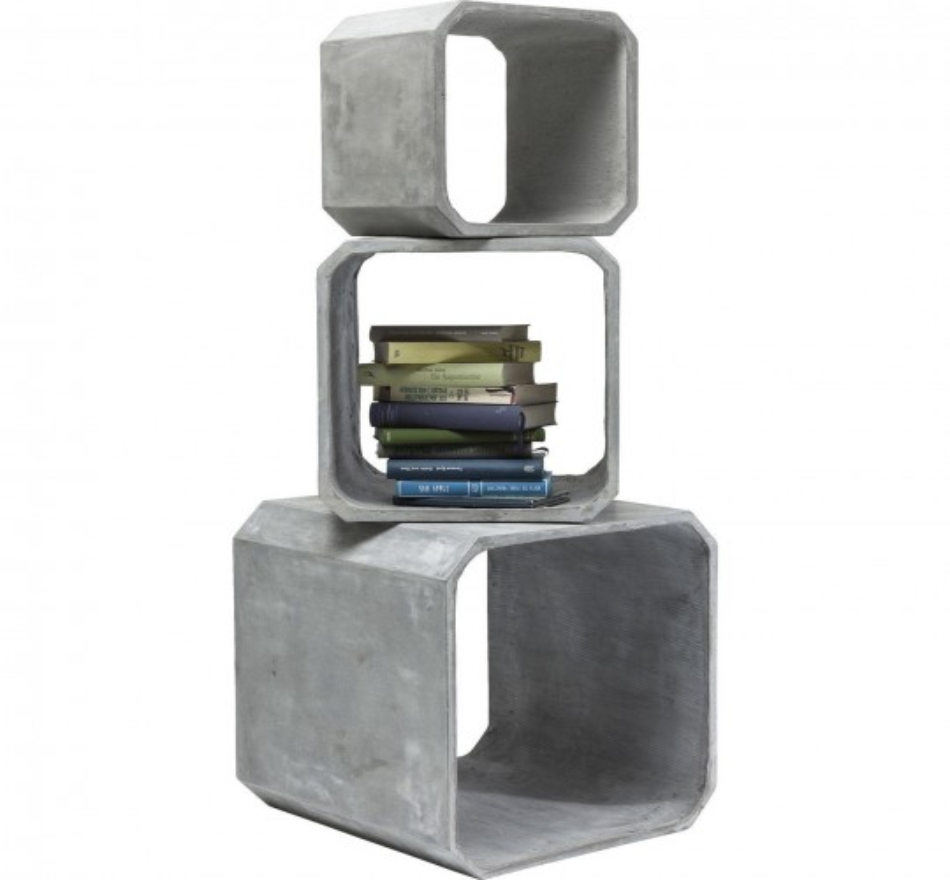 Cubes carrés Concrete 3/set Kare Design