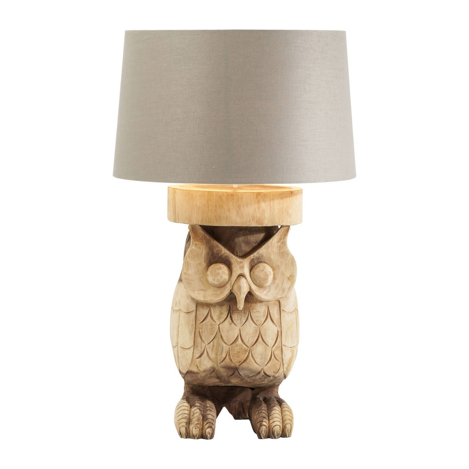 lampe de table hibou taill dans du bois nature kare design. Black Bedroom Furniture Sets. Home Design Ideas