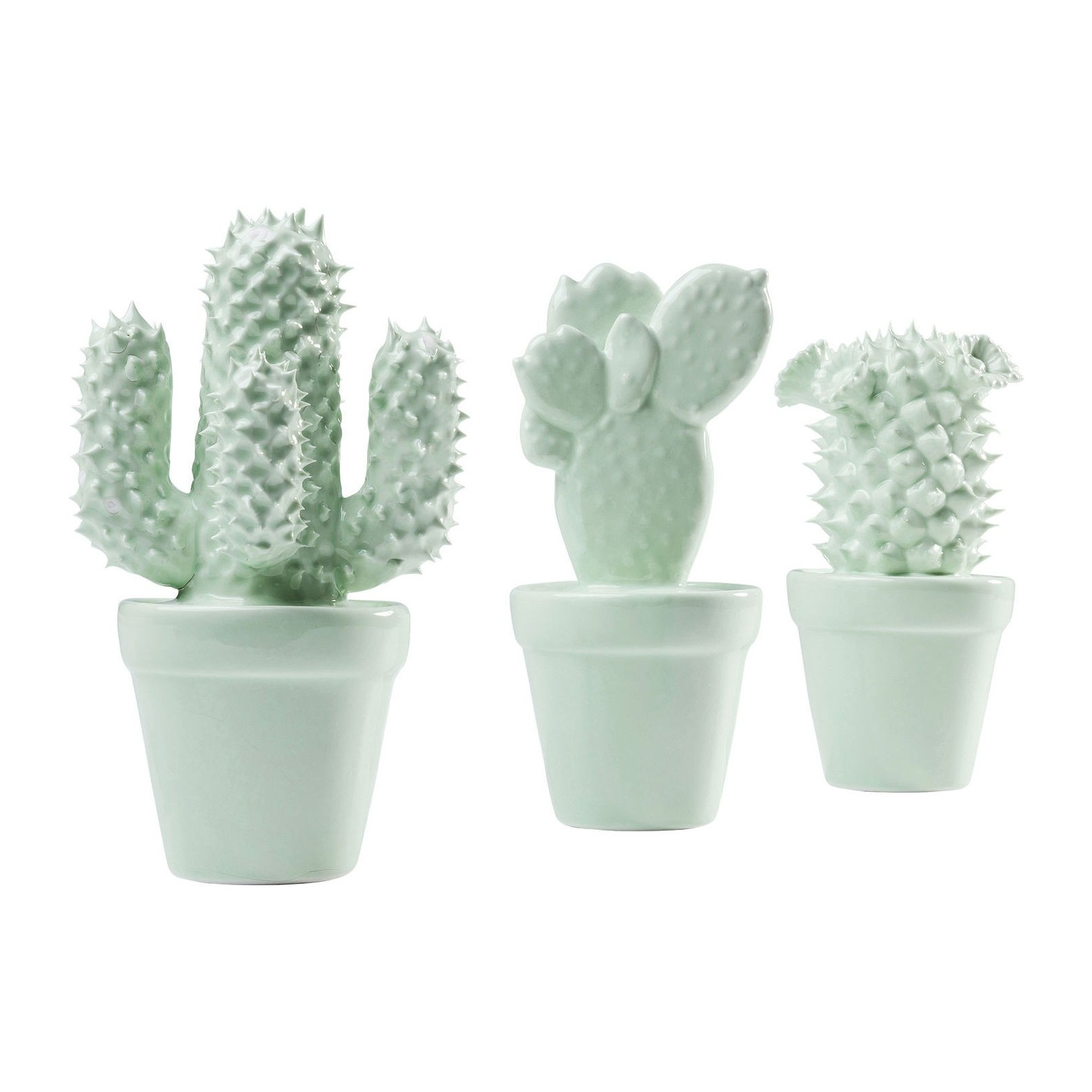 D co cactus menthe set de 3 kare design for Objets decoratifs salon