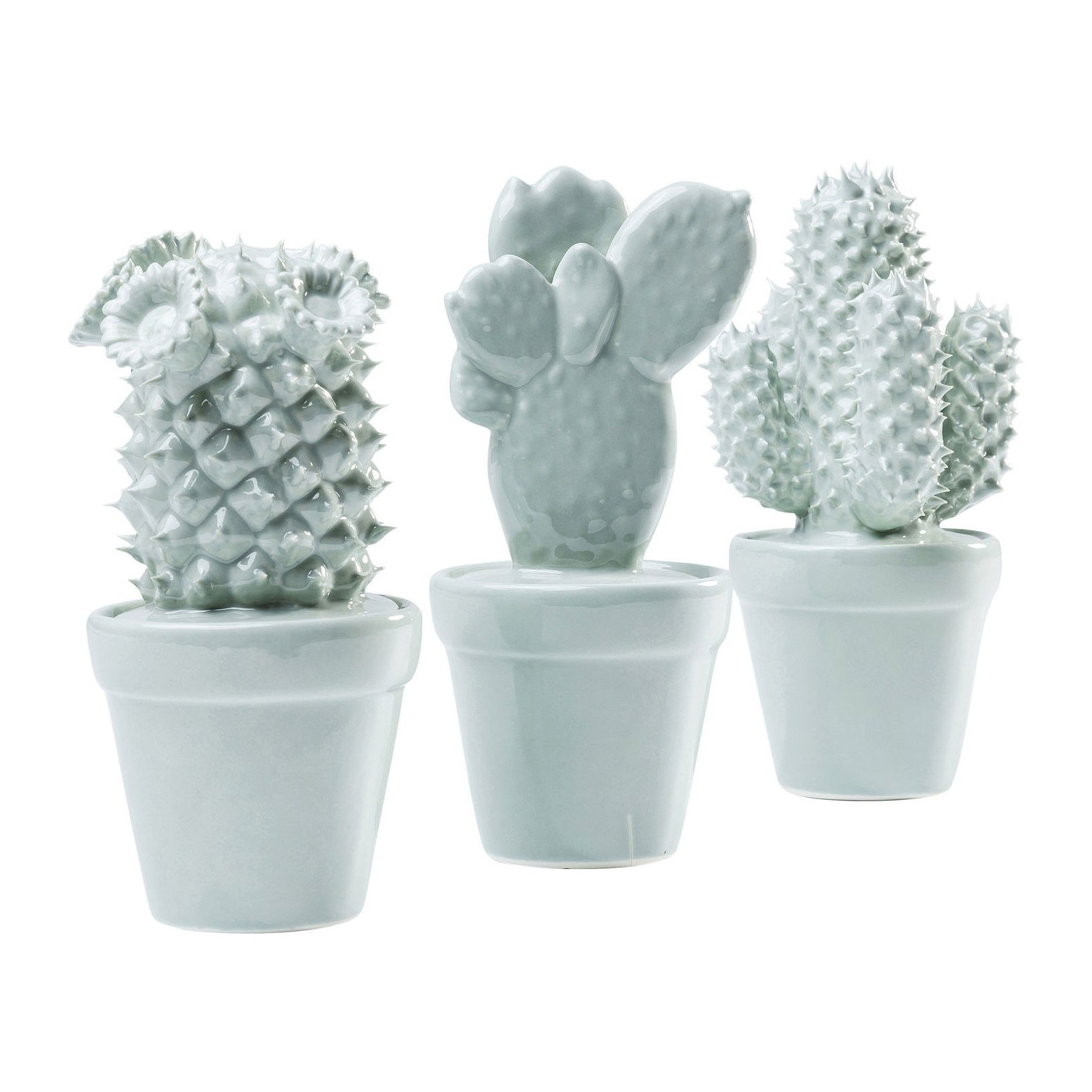Deco cactus bleu clair set de 3 kare design for Objets decoratifs salon