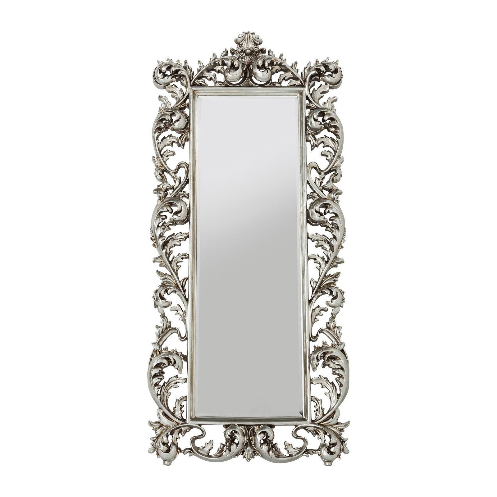 Miroir sun king rectangulaire argent 190x90cm kare design for Miroir design argent