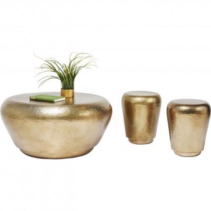 Table basse + tabourets Antico dorés set de 3 Kare Design