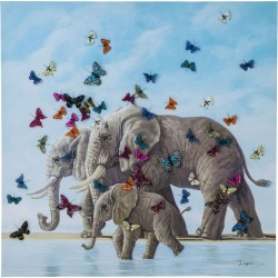 Tableau Touched Elephants with Butterflys 120x120cm Kare Design