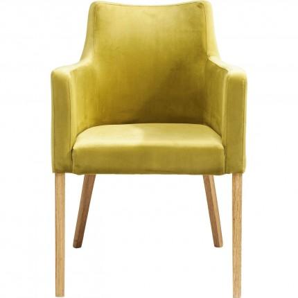 Chaise avec accoudoirs Mode velours verte Kare Design