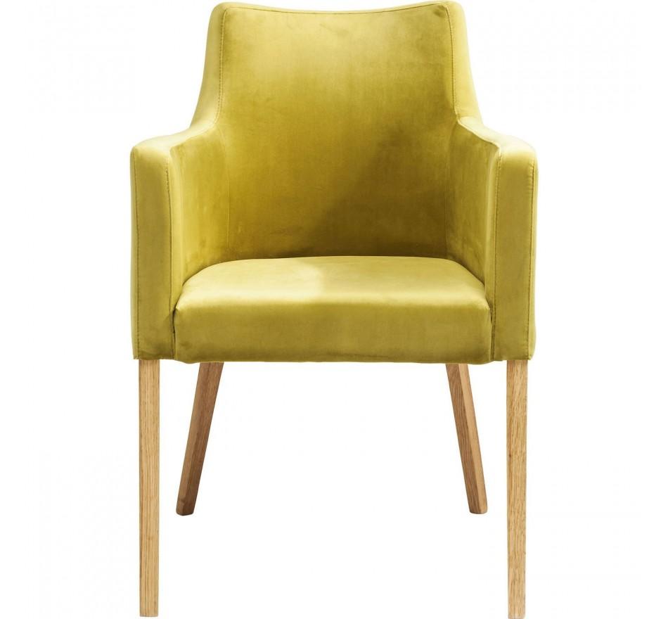 Chaise avec accoudoirs Mode Velvet verte Kare Design
