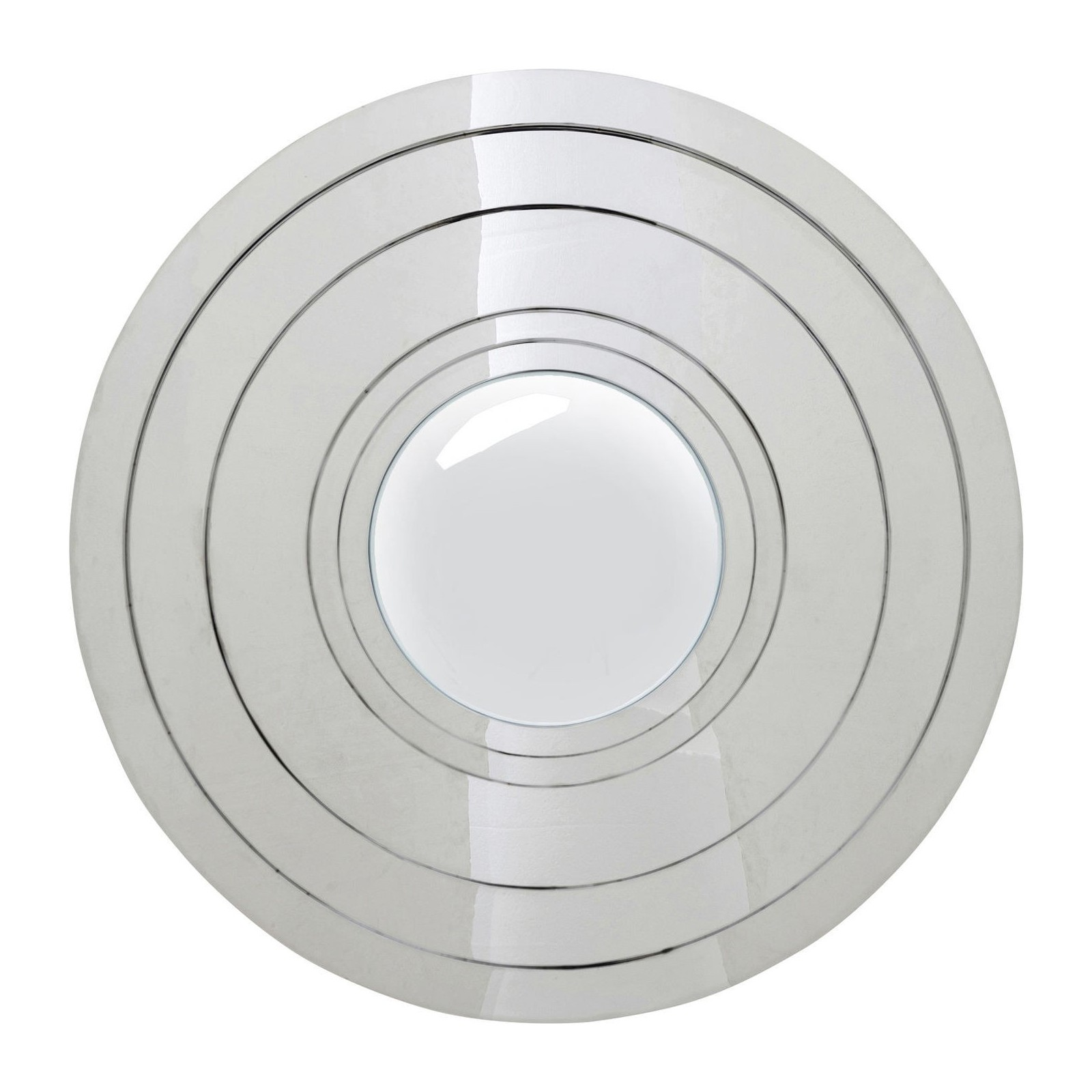 Miroir steel step argent rond 80 cm kare design for Miroir rond design