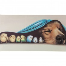 Tableau Touch Dog and Birds 75x135cm Kare Design