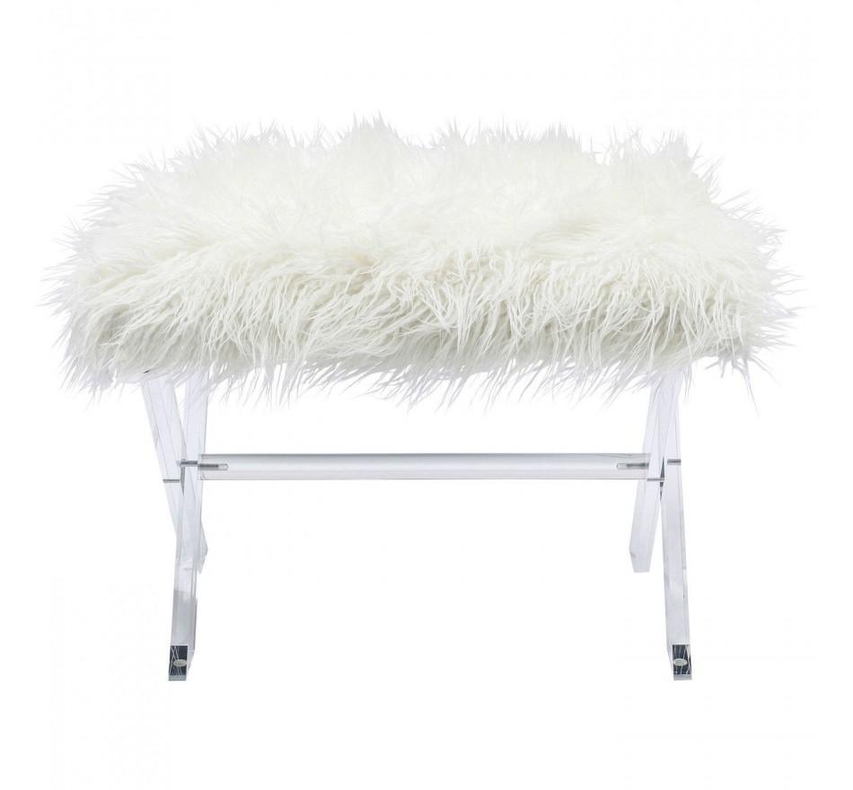 tabouret contemporain en fausse fourrure blanche visible kare. Black Bedroom Furniture Sets. Home Design Ideas