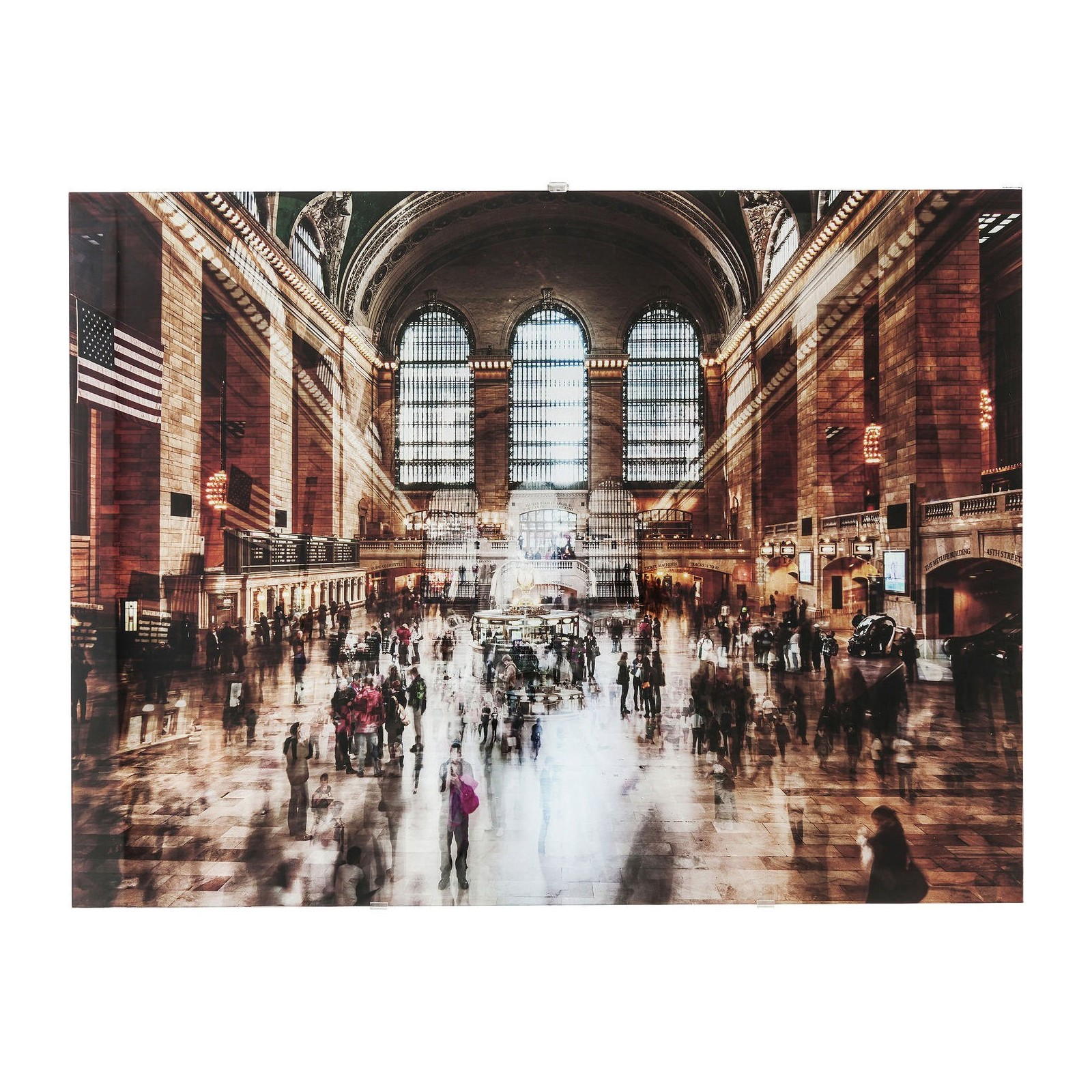 Tableau en verre grand central station kare design for Grande horloge murale solde