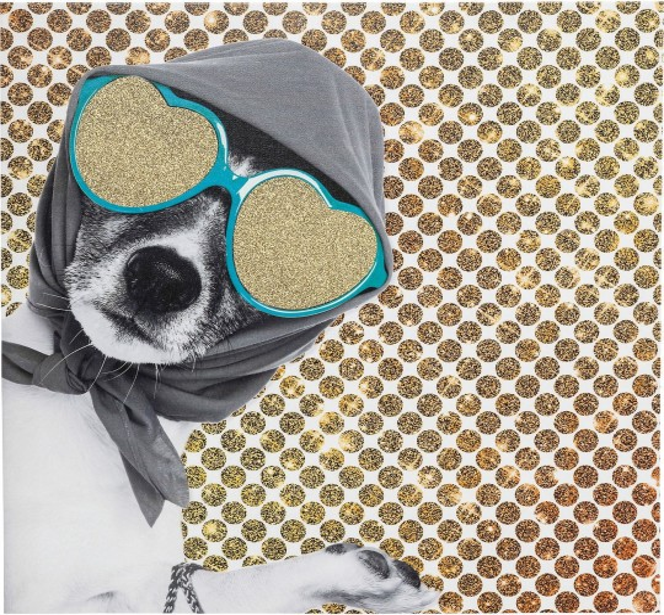 Tableau Shopping Lady Dog 40x40cm Kare Design