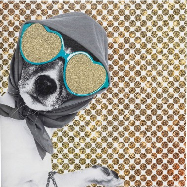 Tableau Shopping Lady Dog 40x40cm Kare Design