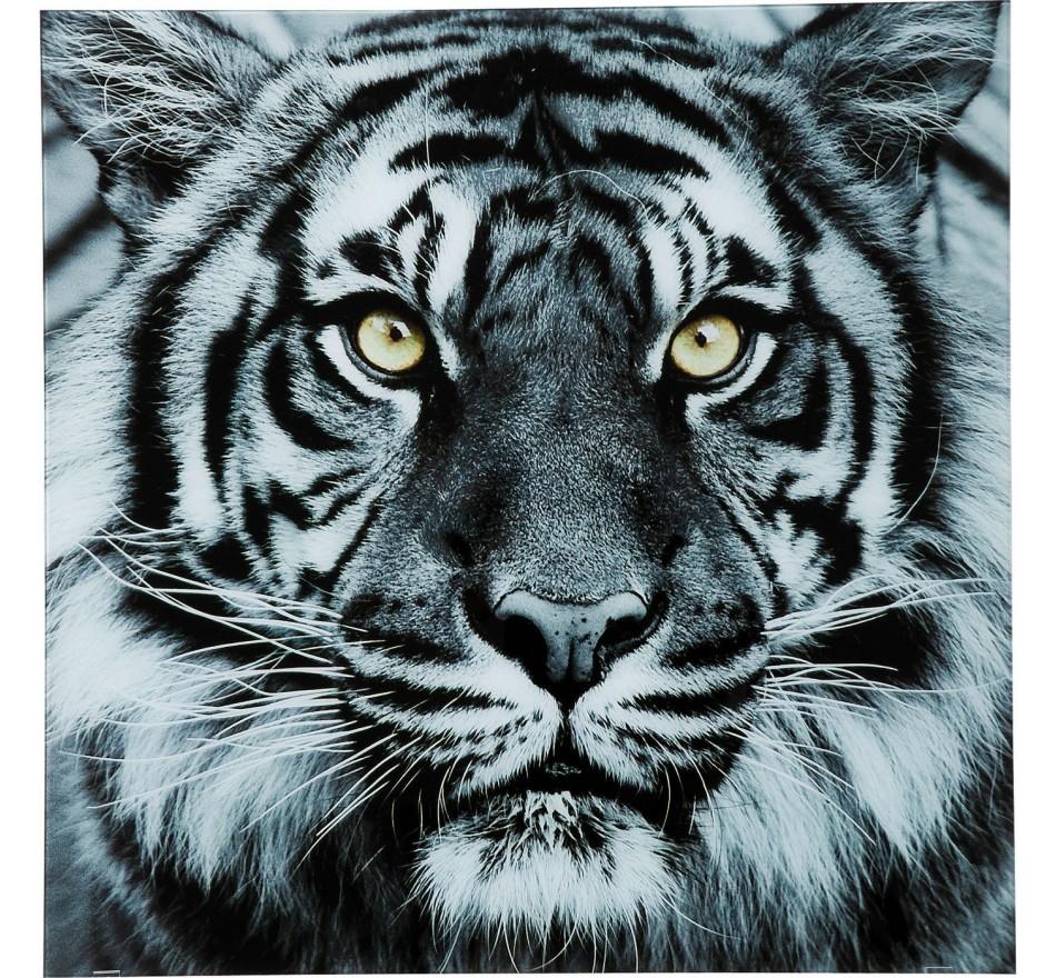 Tableau en verre Face Tigre 80x80cm Kare Design