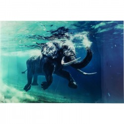 Tableau en verre Swimming Elephant 80x100cm Kare Design