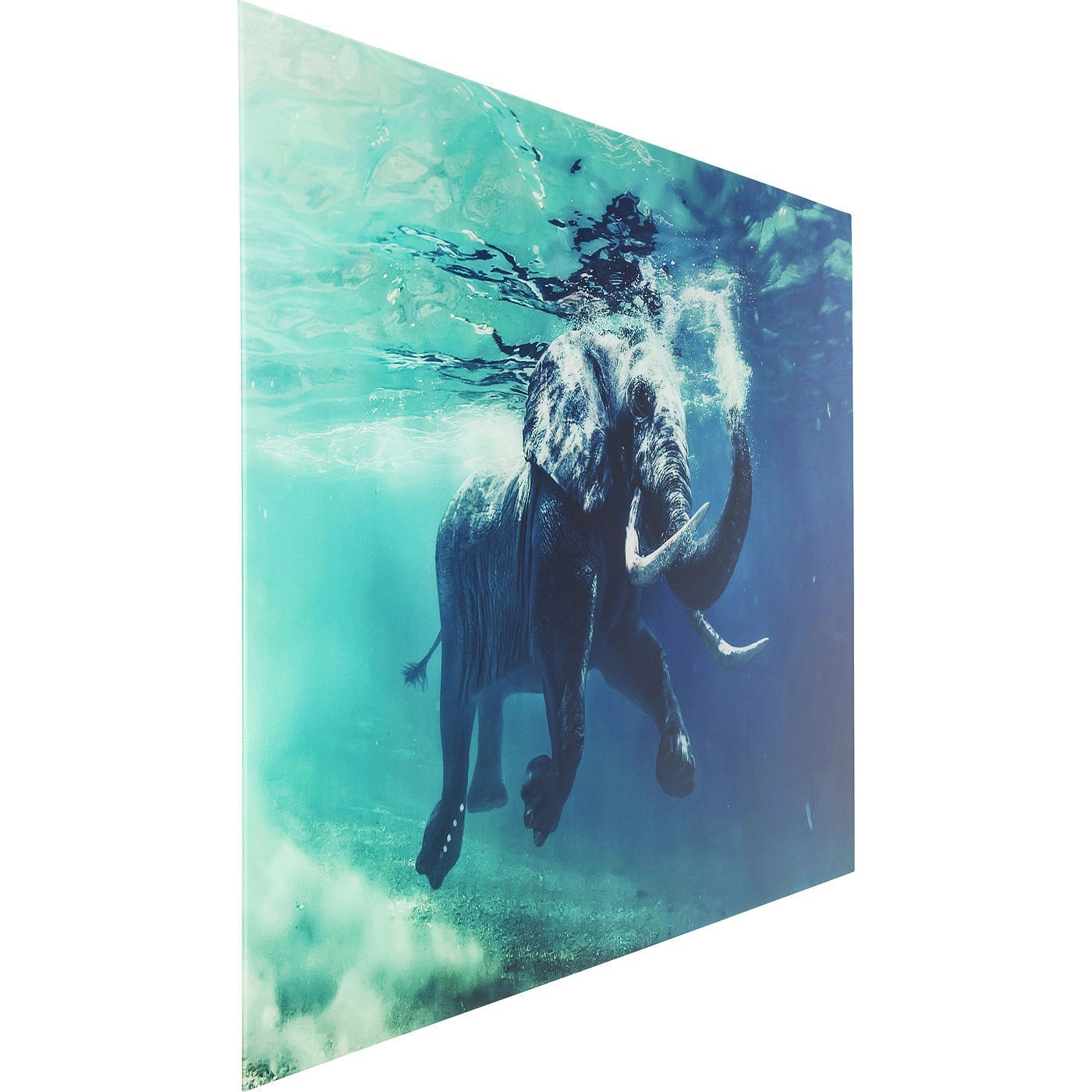 Tableau en verre Swimming Elephant 80x100cm Kare Design