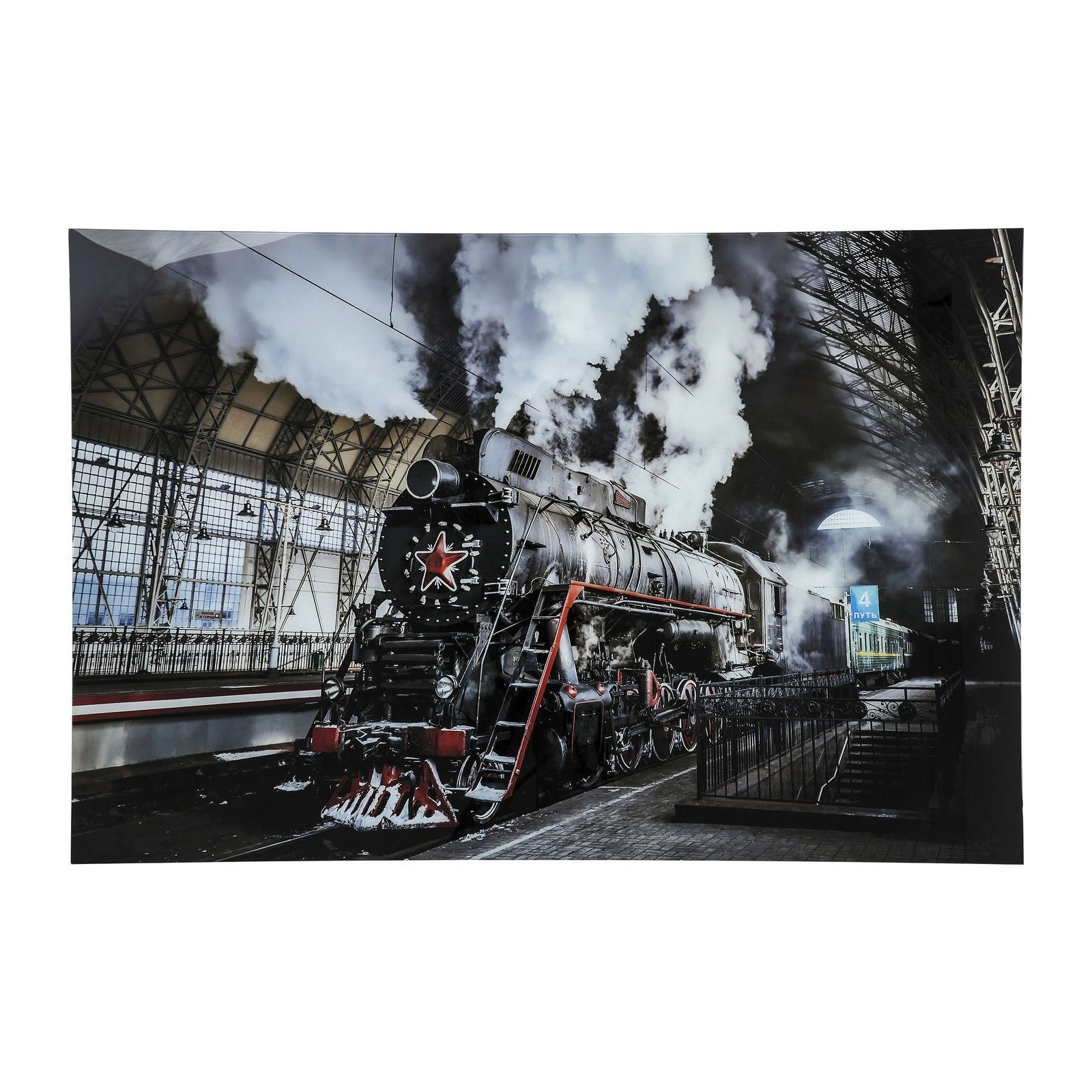 tableau en verre steam train 100x150cm kare design. Black Bedroom Furniture Sets. Home Design Ideas