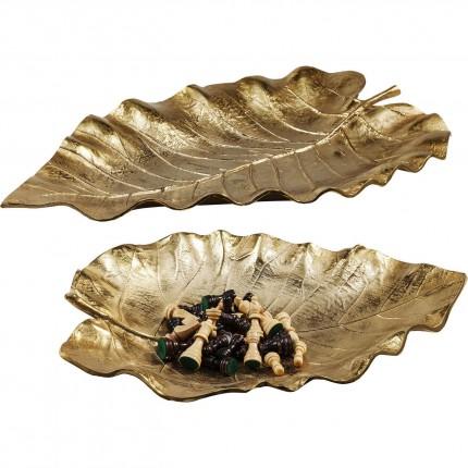 Coupes feuilles d'automne dorées set de 2 Kare Design