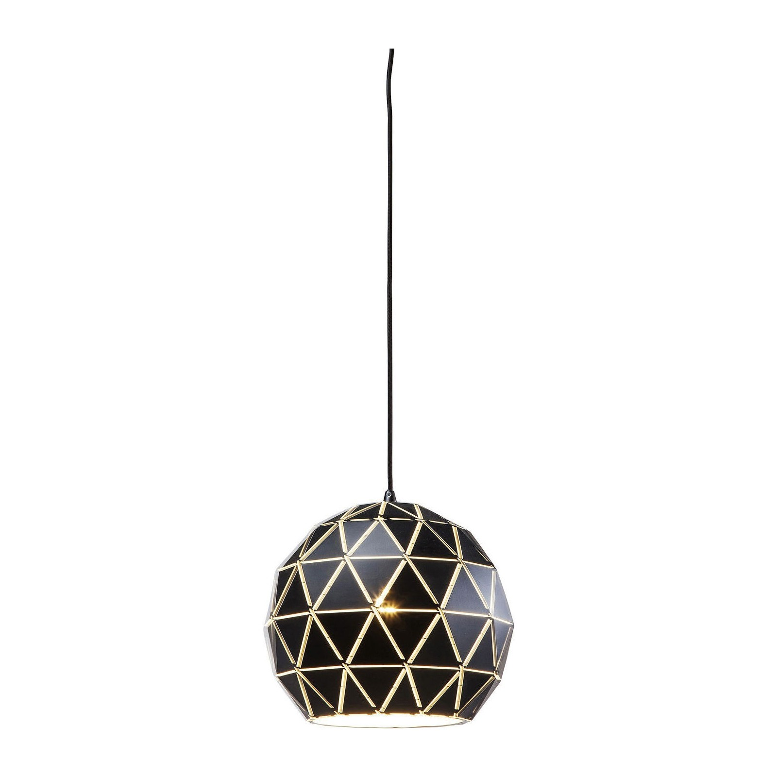 Suspension triangle noire 60cm kare design for Suspension luminaire noir et or