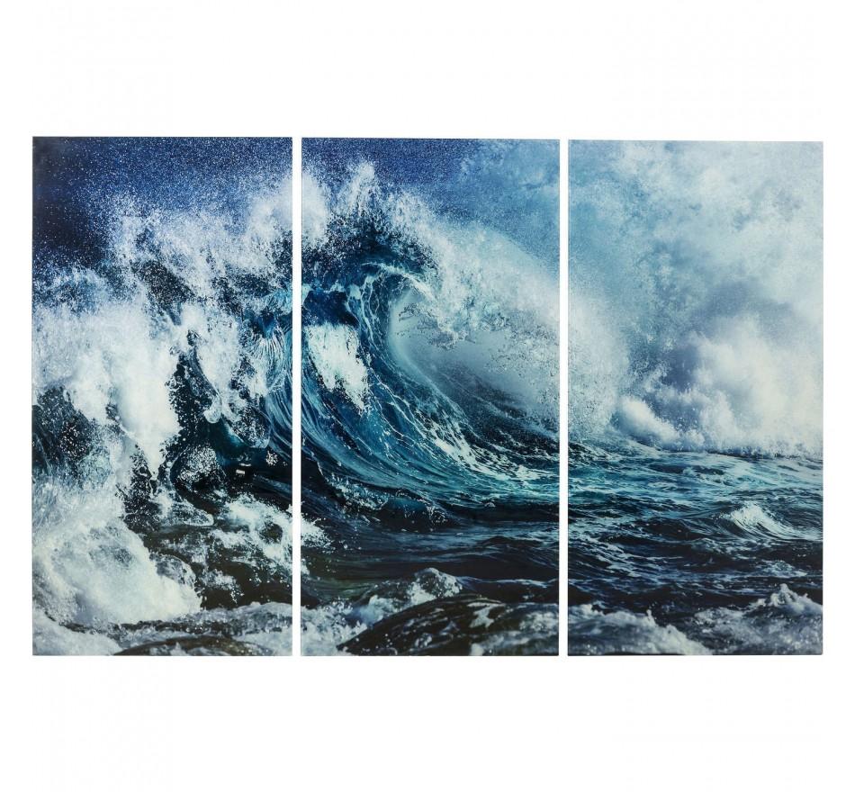 Tableau en verre Triptychon Wave 160x240cm 3/set