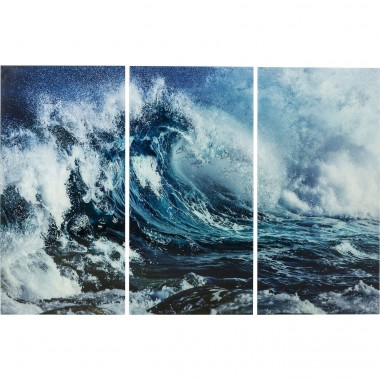 Tableaux en verre Triptychon Wave 160x240cm set de 3 Kare Design