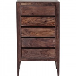Commode haute Brooklyn walnut 5 tiroirs Kare Design