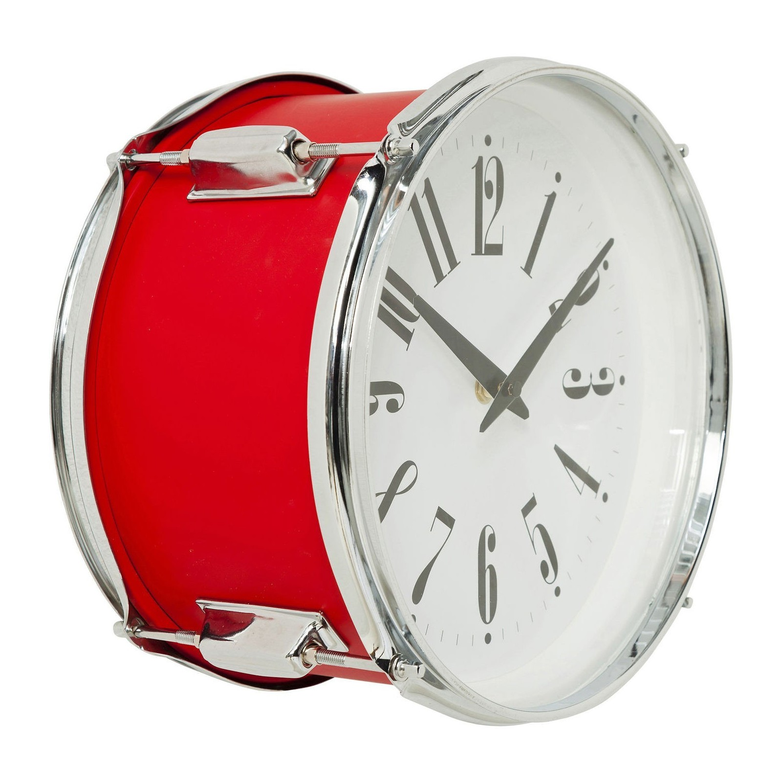horloge murale drum rouge 28cm kare design. Black Bedroom Furniture Sets. Home Design Ideas