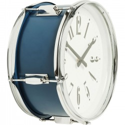 Horloge murale Drum bleue 34cm Kare Design