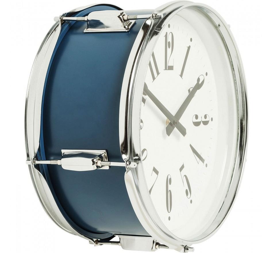 Horloge murale Drum bleu 34cm Kare Design