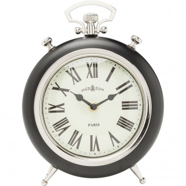 Horloge de table Pocket rond noire Kare Design