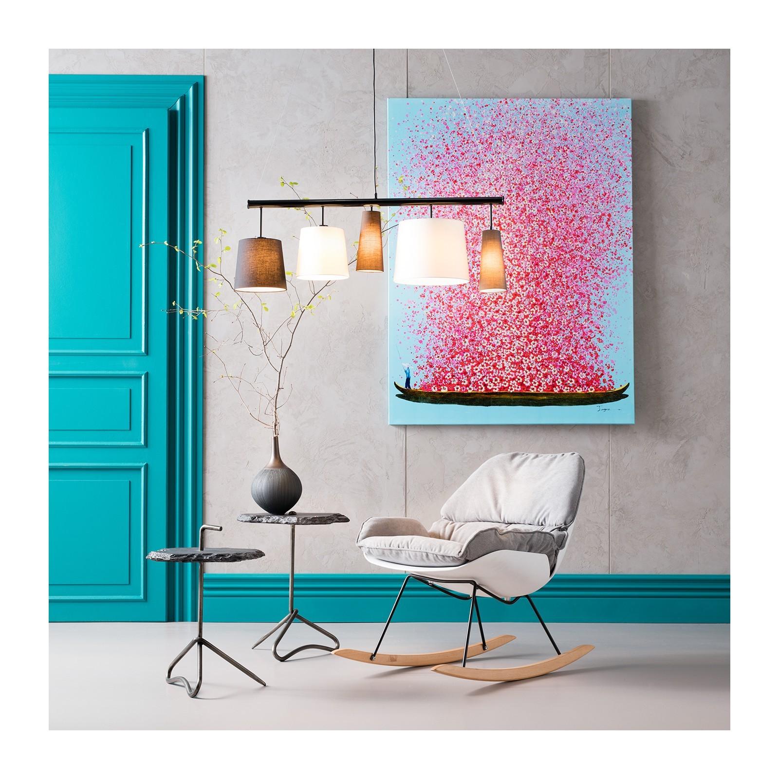 Tableau Touched fleurs pirogue bleu et rose 160x120cm Kare Design