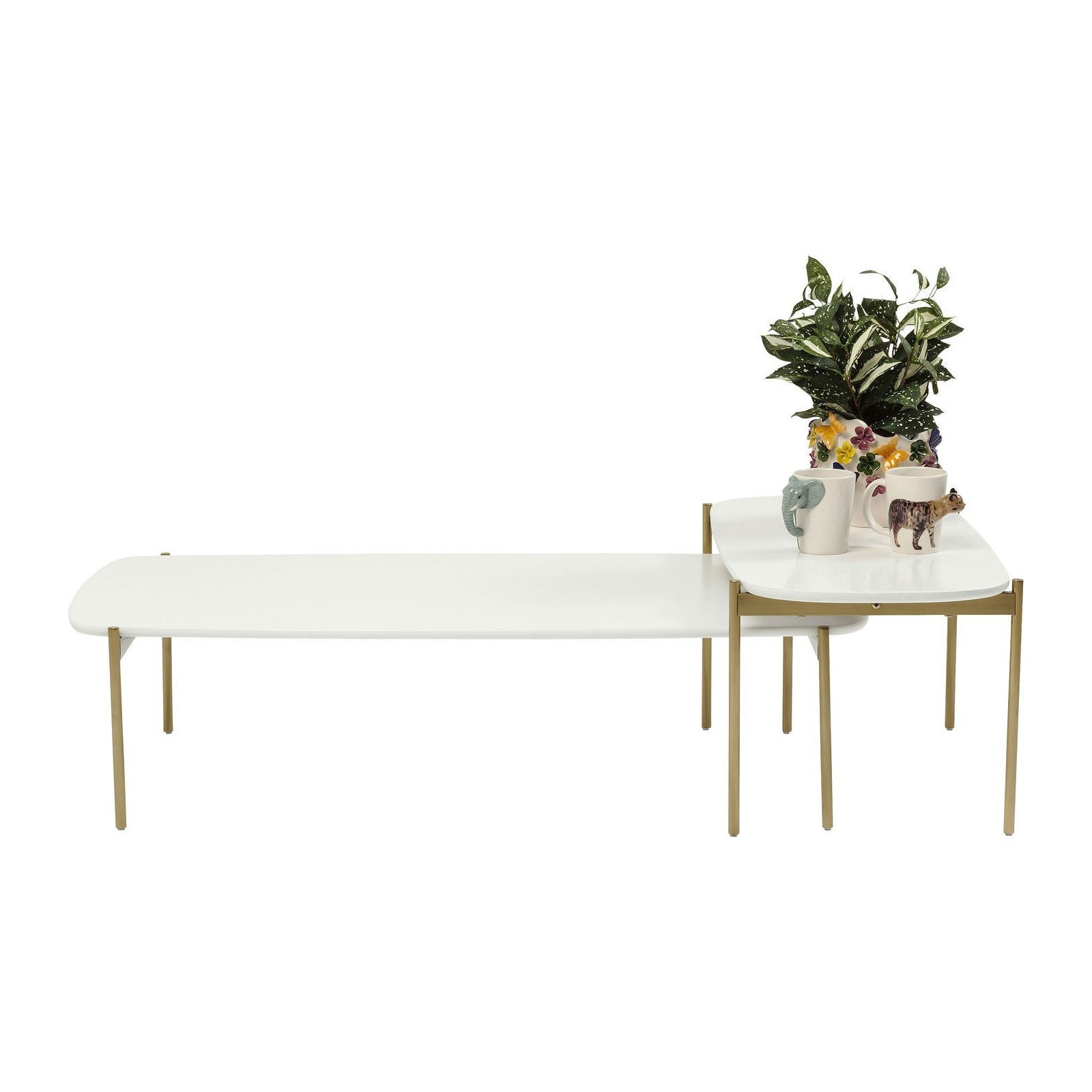 table basse miami gardens blanche set de 2 kare design