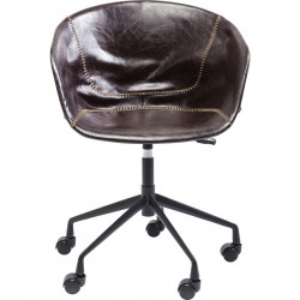 Chaise de bureau pivotante Lounge marron Kare Design