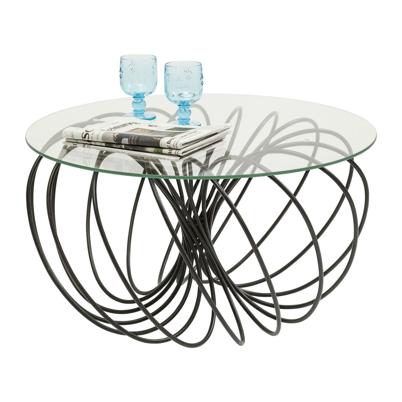 Table basse contemporaine noire wire kare design for Table basse design 80 cm
