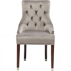 Chaise avec accoudoirs Prince velours gris Kare Design