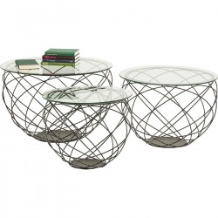 Tables basses Wire Grid set de 3 Kare Design