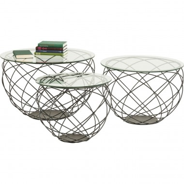 Tables basses Wire Grid set de 3 Kare Design