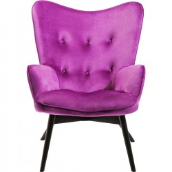 Fauteuil Vicky velours violet Kare Design