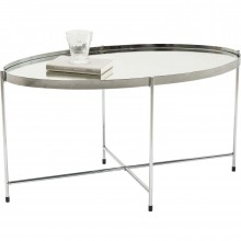 Table basse Miami ovale argentée 83x40cm Kare Design