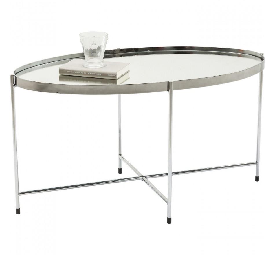 Table basse Miami ovale argentée 83x40cm Kare Design