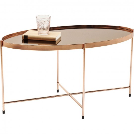 Table basse Miami ovale or rose 83x40cm Kare Design