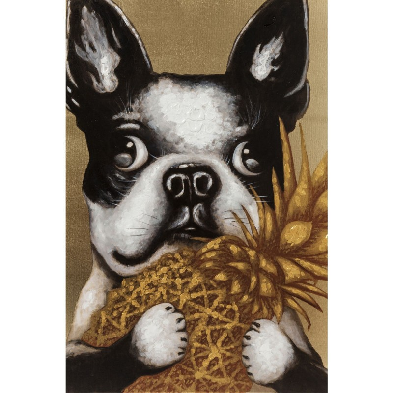 Tableau Touched chien ananas 80x80cm Kare Design