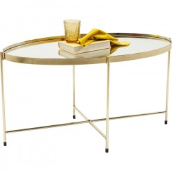 Table basse Miami ovale laiton 83x40cm Kare Design